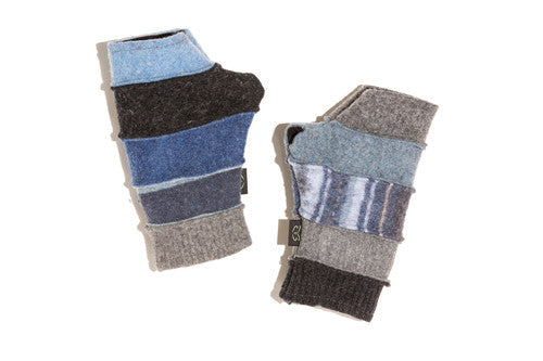 Wool Fingerless Gloves in Denim