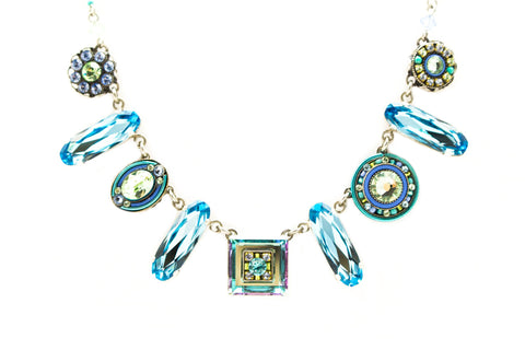 Aqua La Dolce Vita Oblong Crystal Necklace by Firefly Jewelry