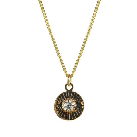 Black and Gold Small Round Evil Eye Necklace by Michal Golan