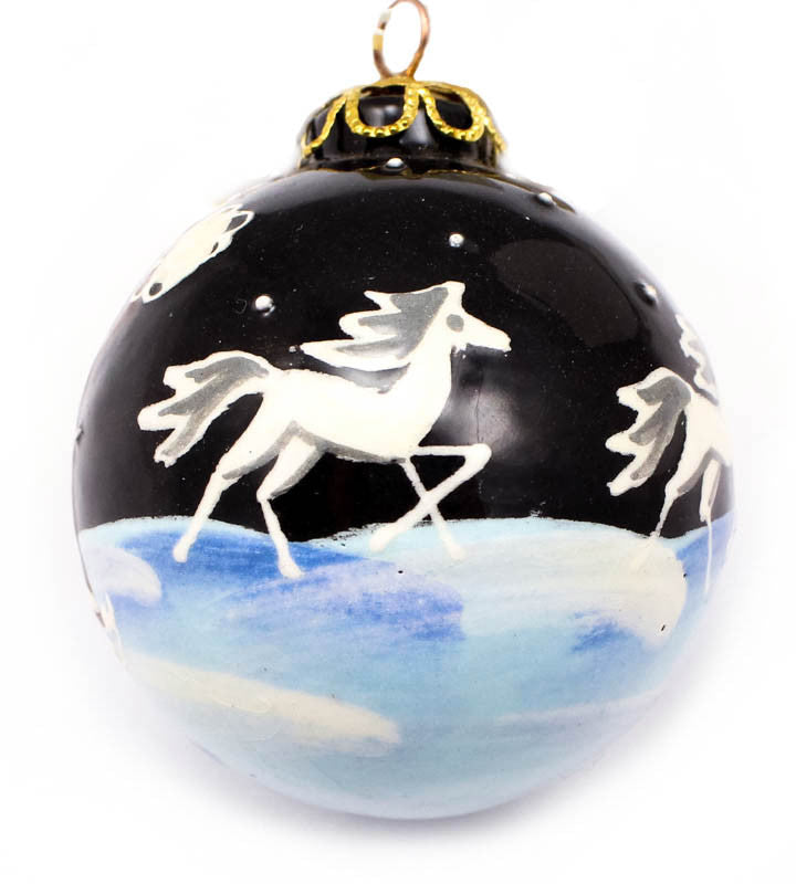 Snowy Midnight Frolic Small Bulb Ceramic Ornament