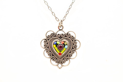 Multi Color Vintage Heart Pendant Necklace by Firefly Jewelry