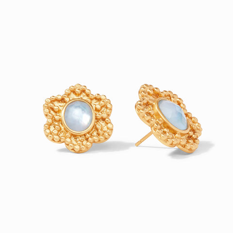 Colette Statement Stud Earrings Gold Iridescent Chalcedony Blue by Julie Vos