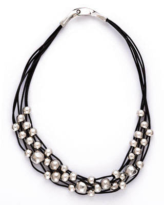 Intertwined Beads Leather Necklace