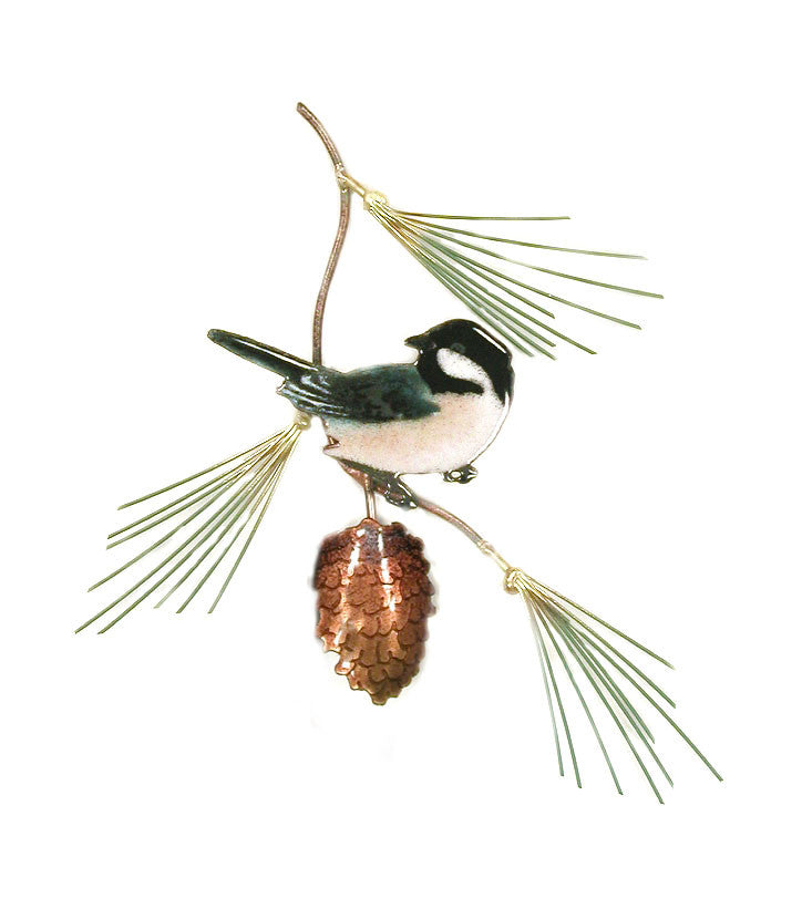 Chickadee (1) with Pine Bough Wall Art by Bovano Cheshire