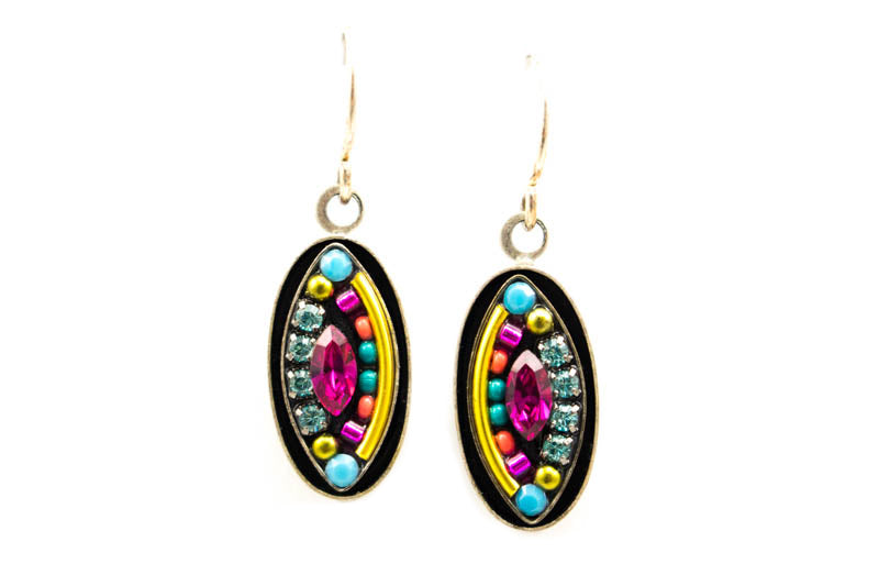 Multi Color Viva Oval Drop Earrings by Firefly Jewelry