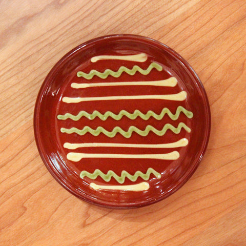 Redware Coaster with Green and White Lines