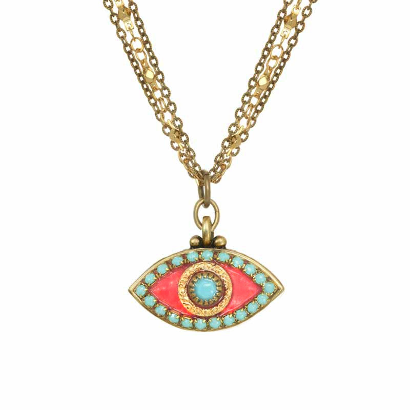 Pink and Blue Eye Necklace
