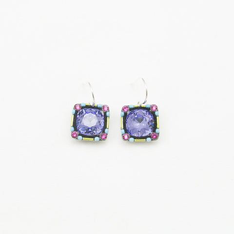 Tanzanite Large Stone Square Earrings by Firefly Jewelry
