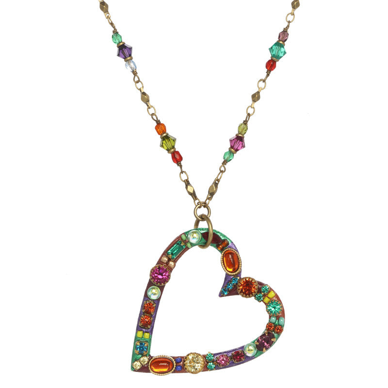 Multi Bright Open Heart Necklace by Michal Golan