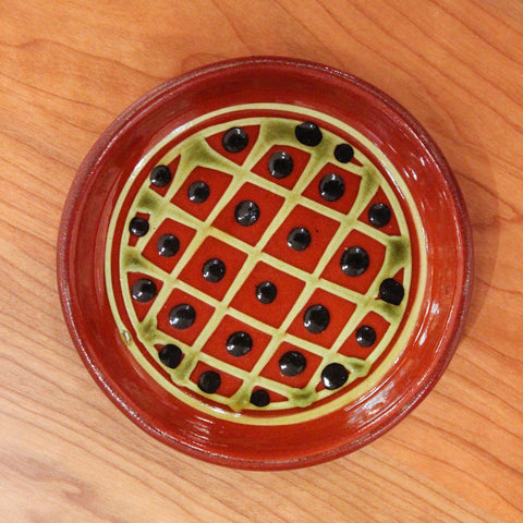 Redware Coaster with Grid and Black Polka Dots