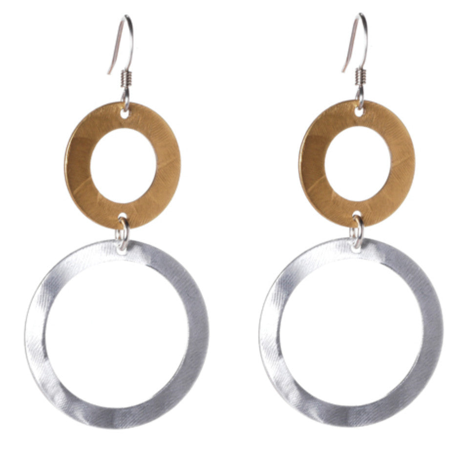Mix Metal Small and Large Circle Earrings