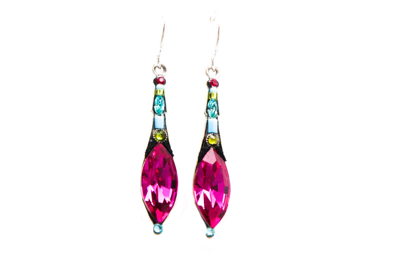 Fuschia Elongated Drop Earrings by Firefly Jewelry