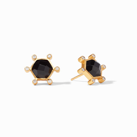Cosmo Stud Earrings Gold Obsidian Black by Julie Vos