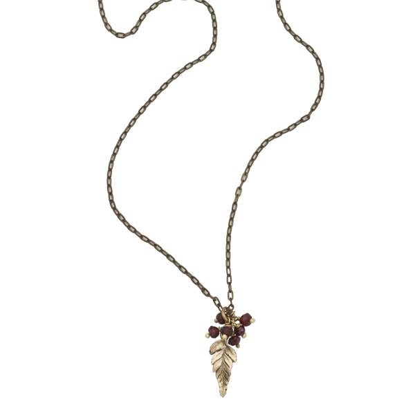 Baby Fern with Garnets Pendant 16 inch Necklace by Michael Michaud
