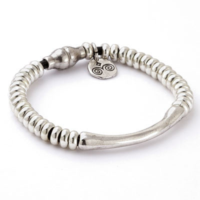 Delicate Silver on Leather Bracelet