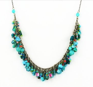 Turquoise and Coral Confetti Necklace by Firefly Jewelry