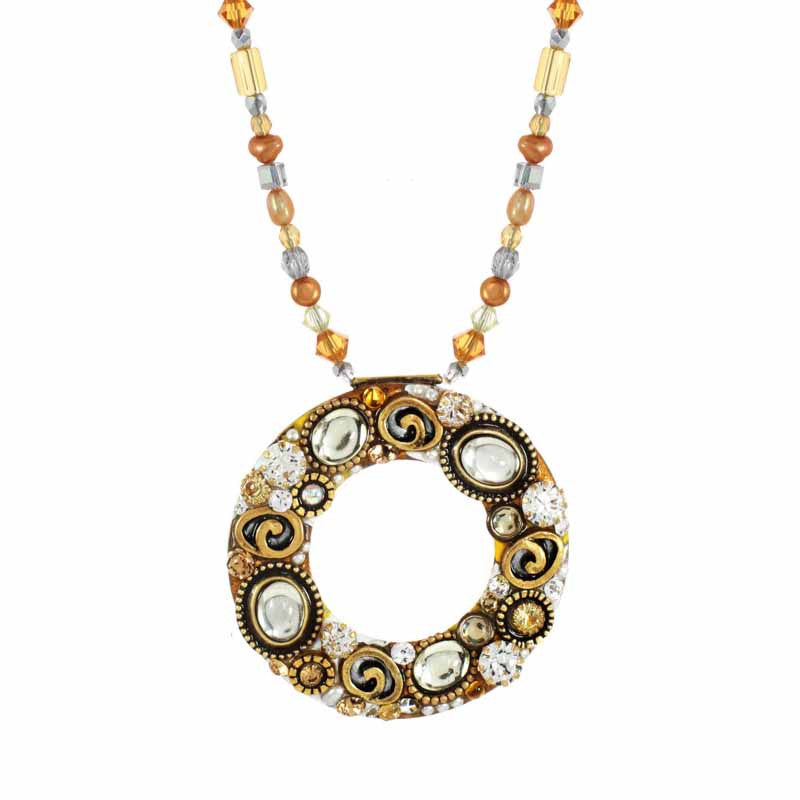 Champagne Open Circle on Beads Necklace