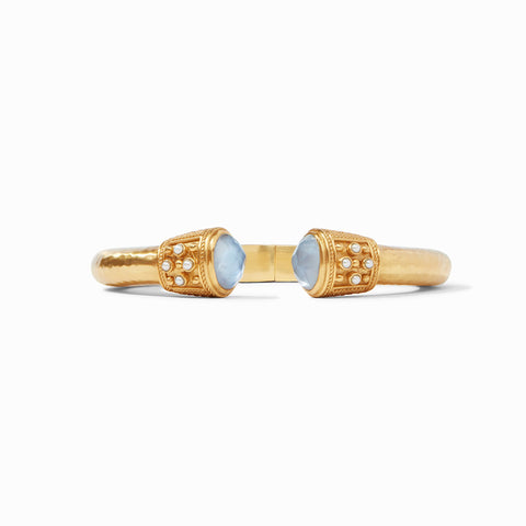 Paris Demi Hinge Cuff Gold Iridescent Chalcedony Blue w/ Pearl Accents by Julie Vos