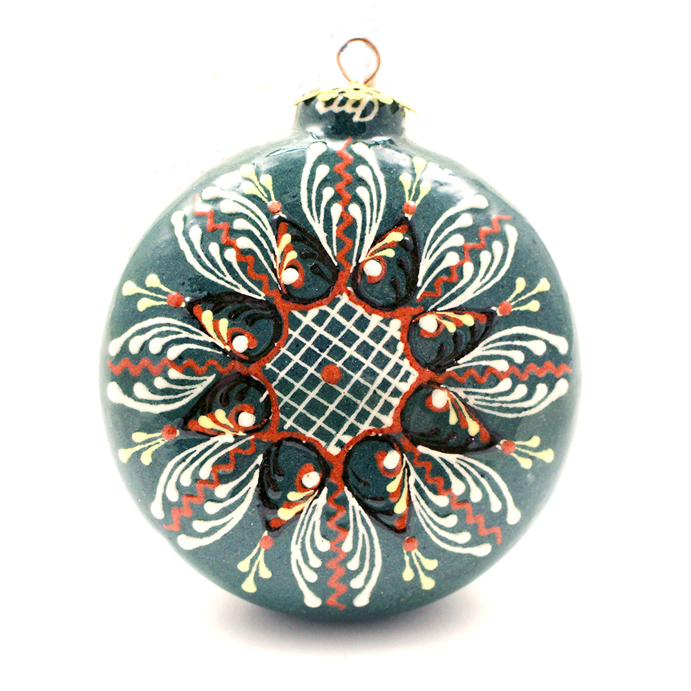 Teal, Red, White Small Round Ceramic Ornament