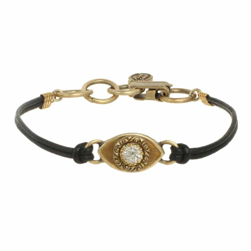 Gold and Clear Crystal Medium Eye Leather Bracelet by Michal Golan