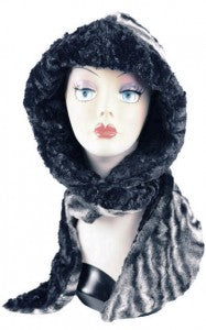 Agate in Black with Cuddly Black Luxury Faux Fur Hoody Scarf