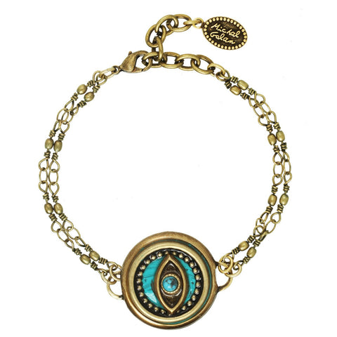 Round Turquoise Eye Two Chain Bracelet