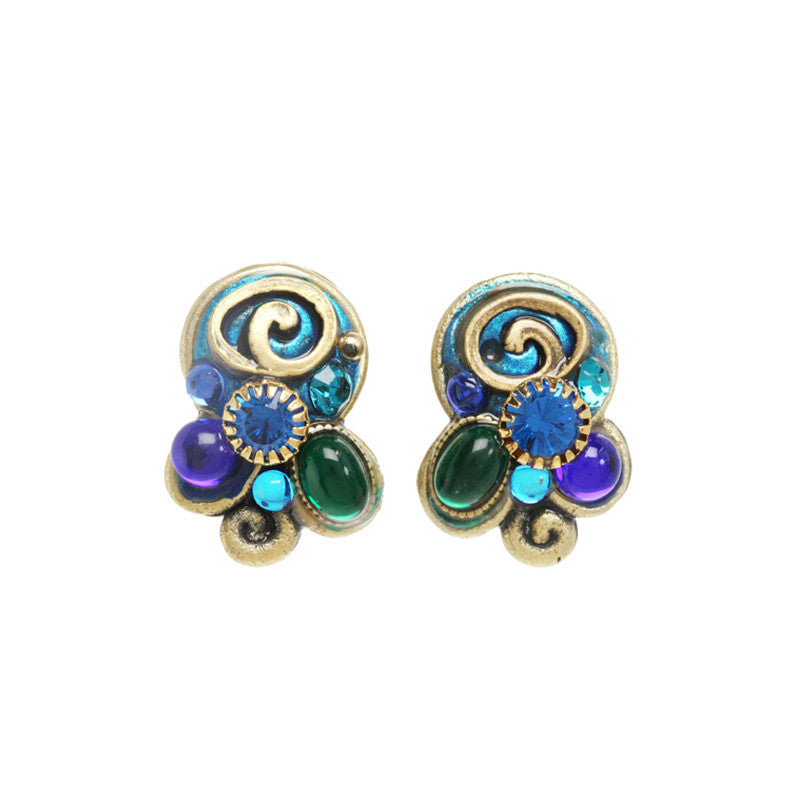 Emerald Round Swirl Clip on Earrings by Michal Golan