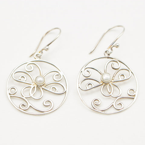 Sterling Silver Openwork Round with Butterfly and Pearl Dangle Earrings