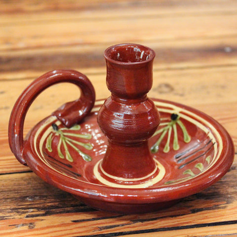 Redware Candlestick Holder with Ferns