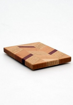 "Small Checkered Trivet in Oak - Size 3""x4"""