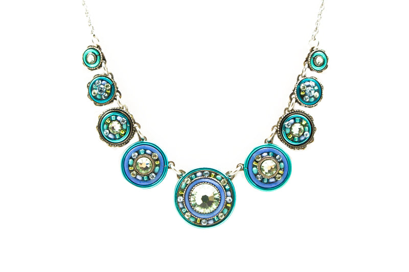 Aqua La Dolce Vita Circles Necklace by Firefly Jewelry