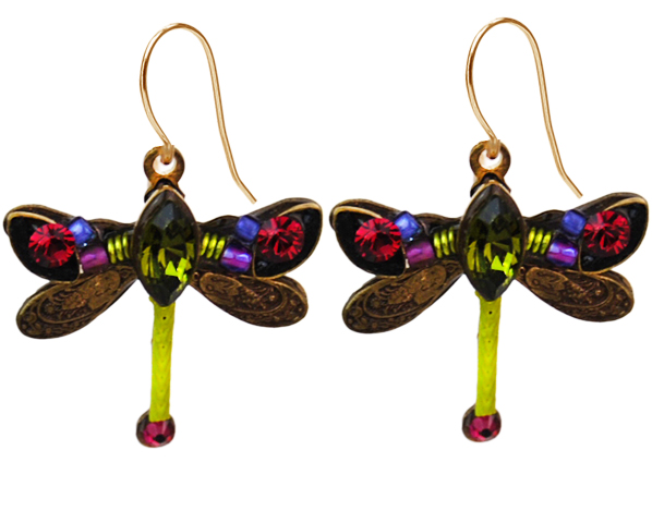 Olivine Petite Dragonfly Earrings by Firefly Jewelry