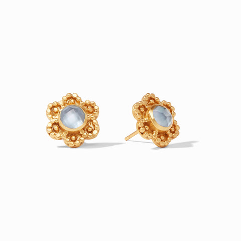 Colette Stud Earrings Gold Iridescent Chalcedony Blue by Julie Vos