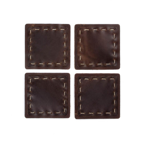 Leather Hand Sewn Coaster Set - Available in Multiple Colors