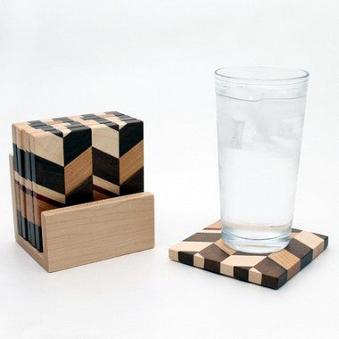 Set of 6 Checkered Coasters in Maple with Holder