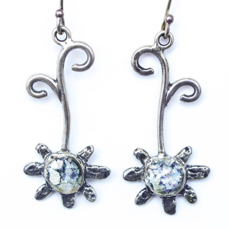 Flower Drop Roman Glass Earrings