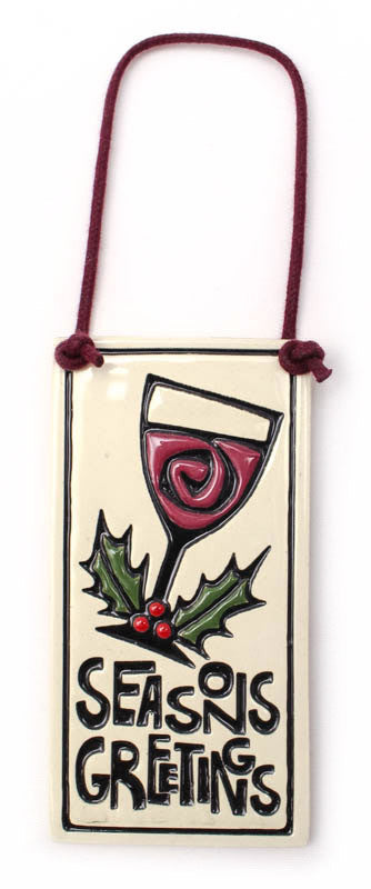 Season'S Greetings Wine Tag Ceramic Tile