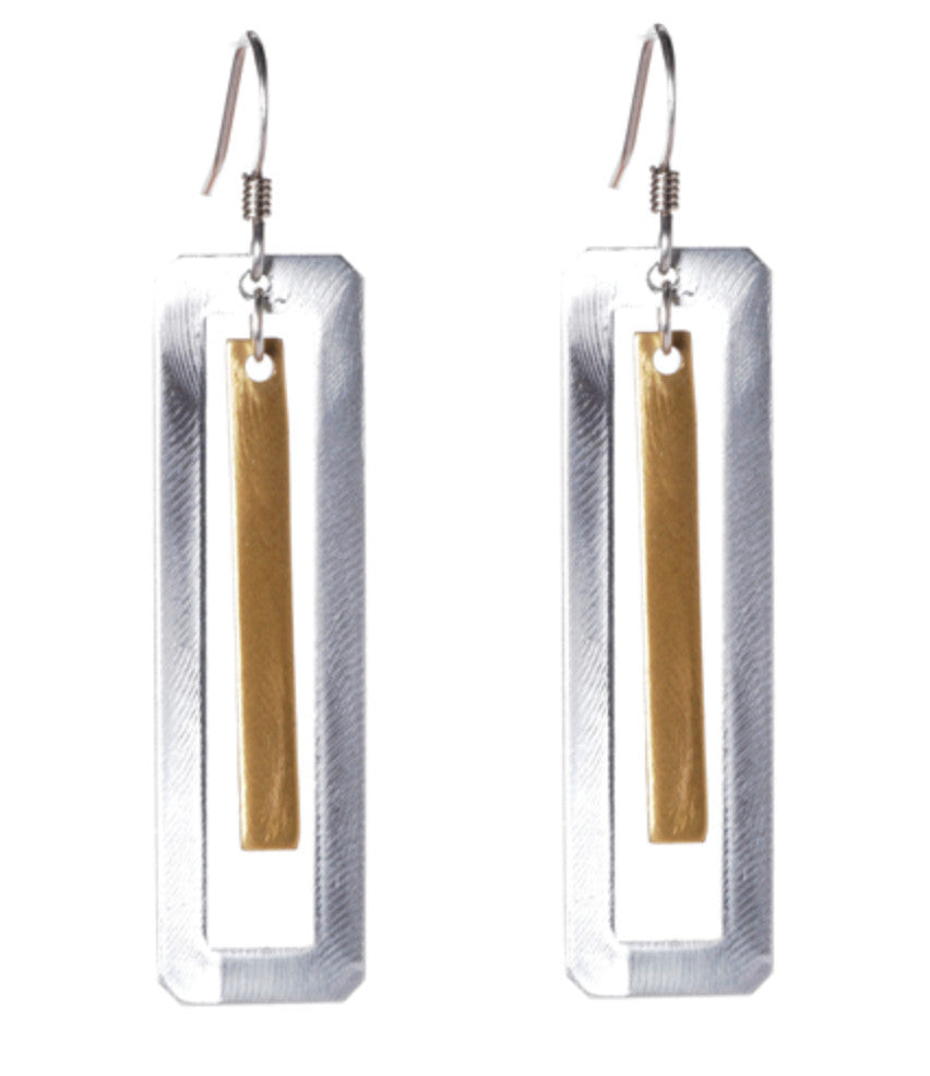 Mix Metal Rectangle with Stick Drop Earrings