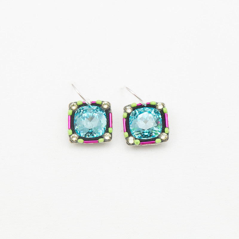 Light Turquoise Large Stone Square Earrings by Firefly Jewelry
