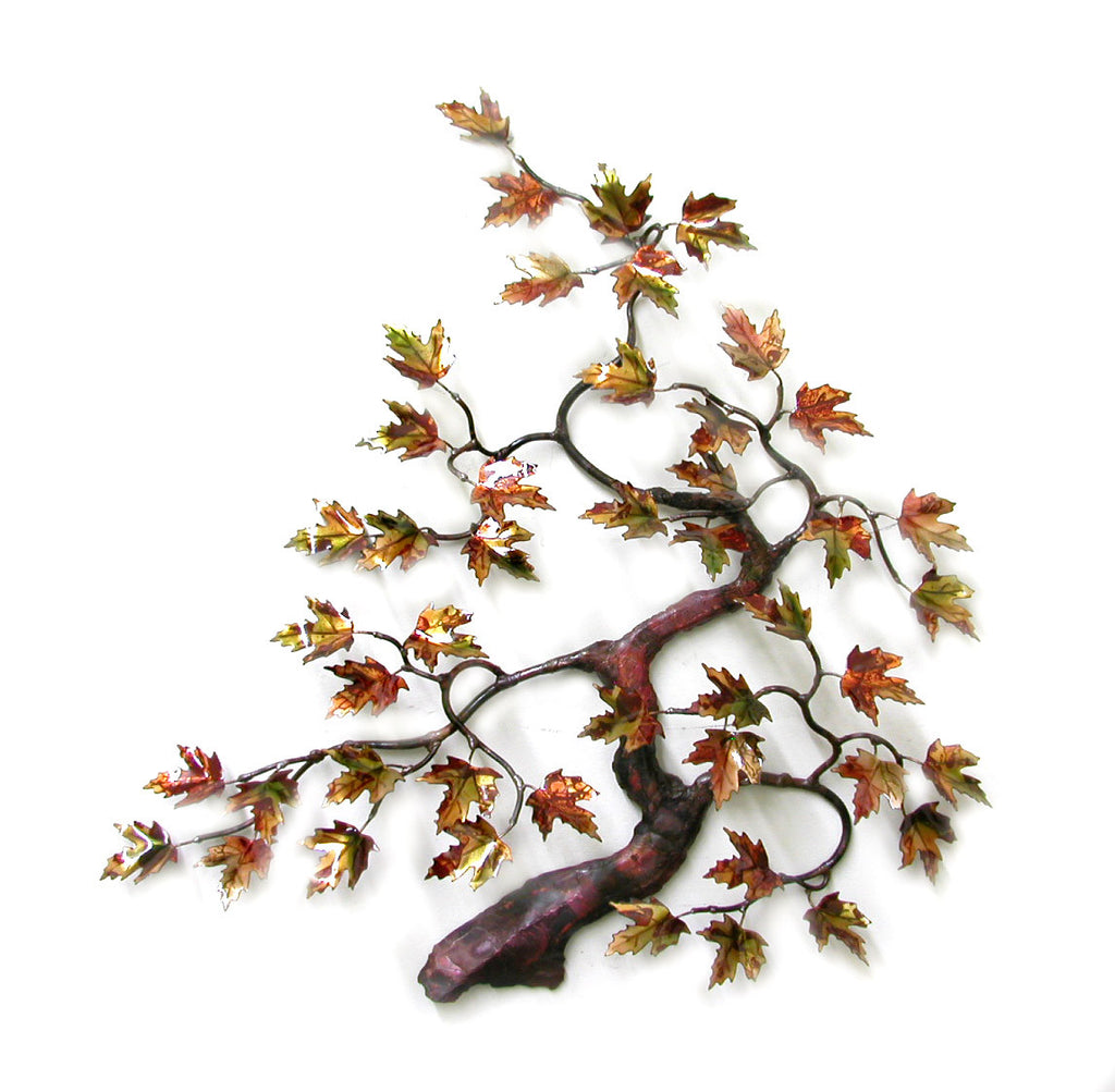 Maple Tree with Enameled Autumn Leaves Wall Art by Bovano Cheshire