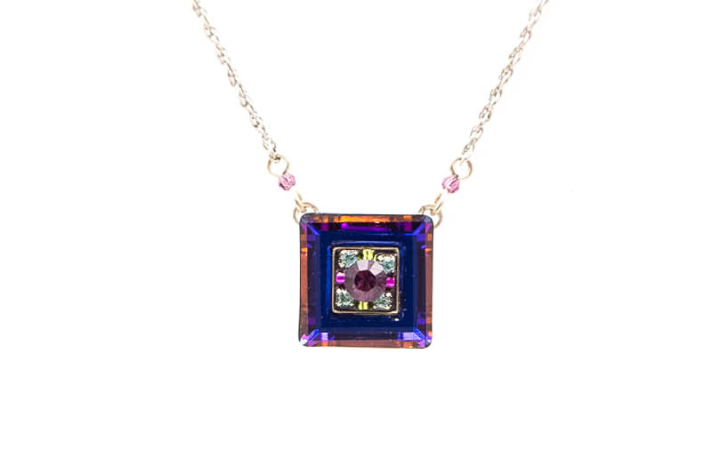 Amethyst La Dolce Vita Mosaic Square Pendent Necklace by Firefly Jewelry
