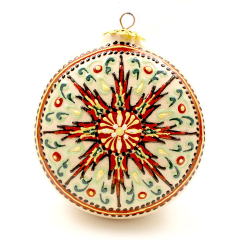 White Background with Red/Green Geometrical Design Small Round Ceramic Ornament