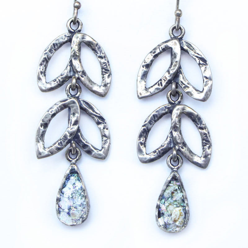 Sterling Silver Leaves with Petite Teardrop Roman Glass Earrings