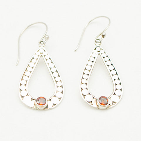 Sterling Silver Tear Drop with Garnet Earrings
