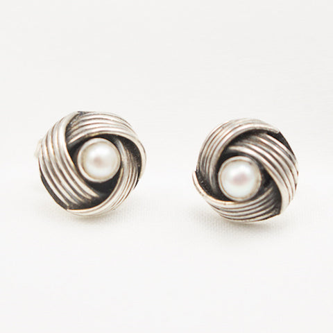 Sterling Silver Weave with Pearl Post Earrings