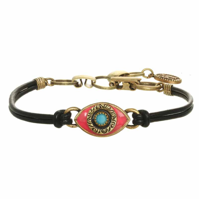 Pink and Turquoise Eye Leather Bracelet by Michal Golan