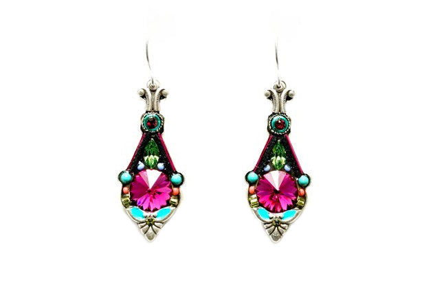 Multi Color Floral Pendulum Earrings by Firefly Jewelry