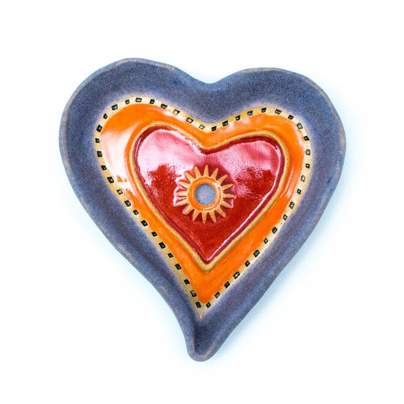 Heart Dish in Purple Ceramic Wall Art