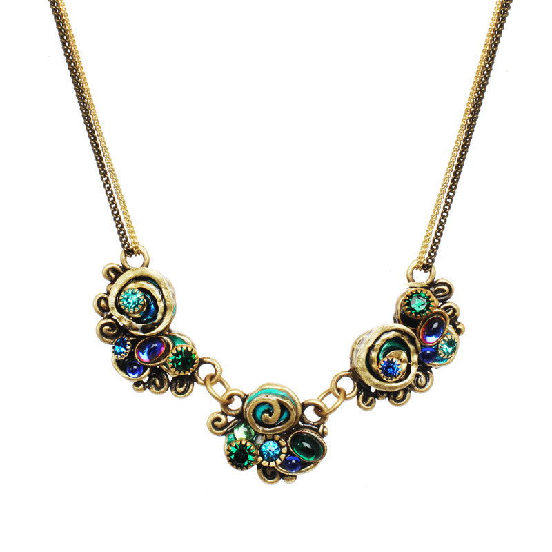 Emerald Three Part Design Four Chain Necklace by Michal Golan