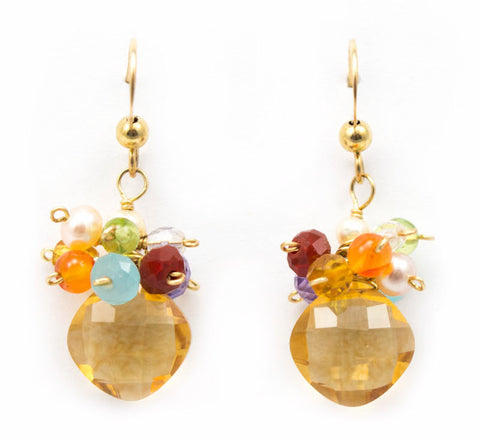 Cluster Citrine Earrings by Anna Balkan